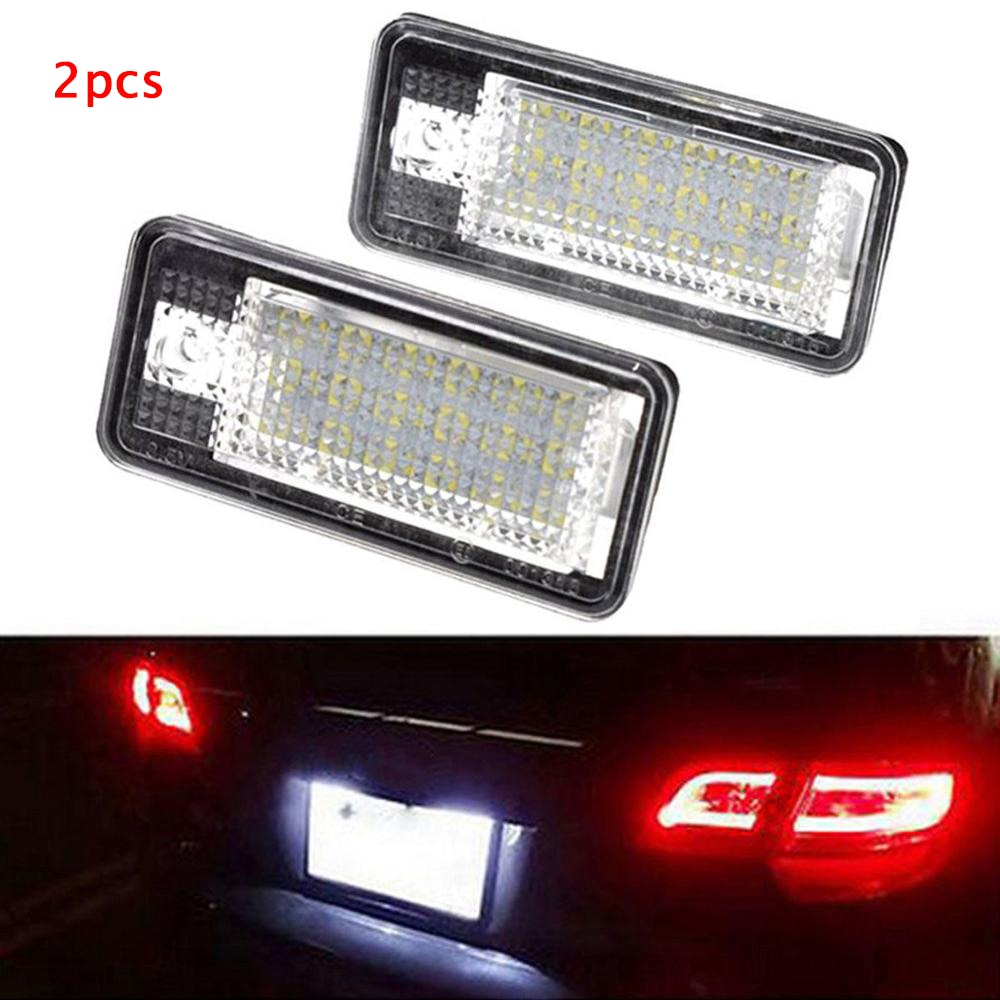 2 uds. Lámpara LED de luz de matrícula de coche para Audi A3/S3 A4/S4 B6 (8E/8 H) A4/S4 B7 (8E/8 H) A6/C6 (4F) s6 A8/S8 Q7 RS4 RS6 03-09