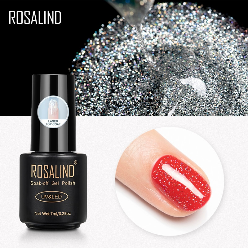 ROSALIND Laser Top Base For Nails Gel Polish Matt Coat Manicure Semi Permanent UV Hybrid Varnish Soak Off Primer Lacquer 7ML