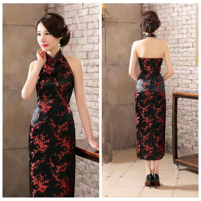 High-end Lady Qipao Elegant Burgundy Slim Cheongsam Exquisite High Slit Vestidos Sexy Backless Sleeveless Chinese Dress 3XL
