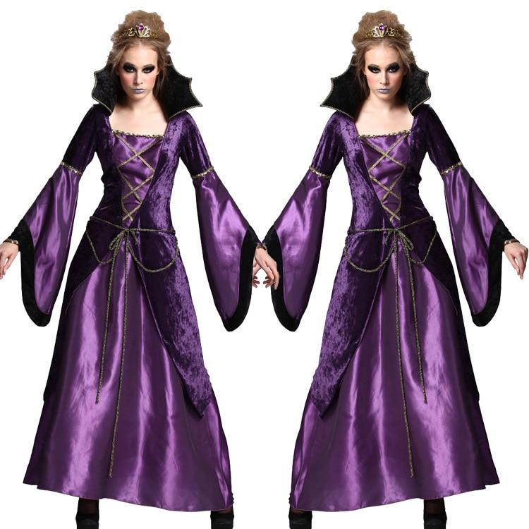 Костюмы для косплея на Хэллоуин для женщин, костюмы ведьмы для взрослых, фиолетовое Дворцовое платье, страшные праздничные костюмы вампира