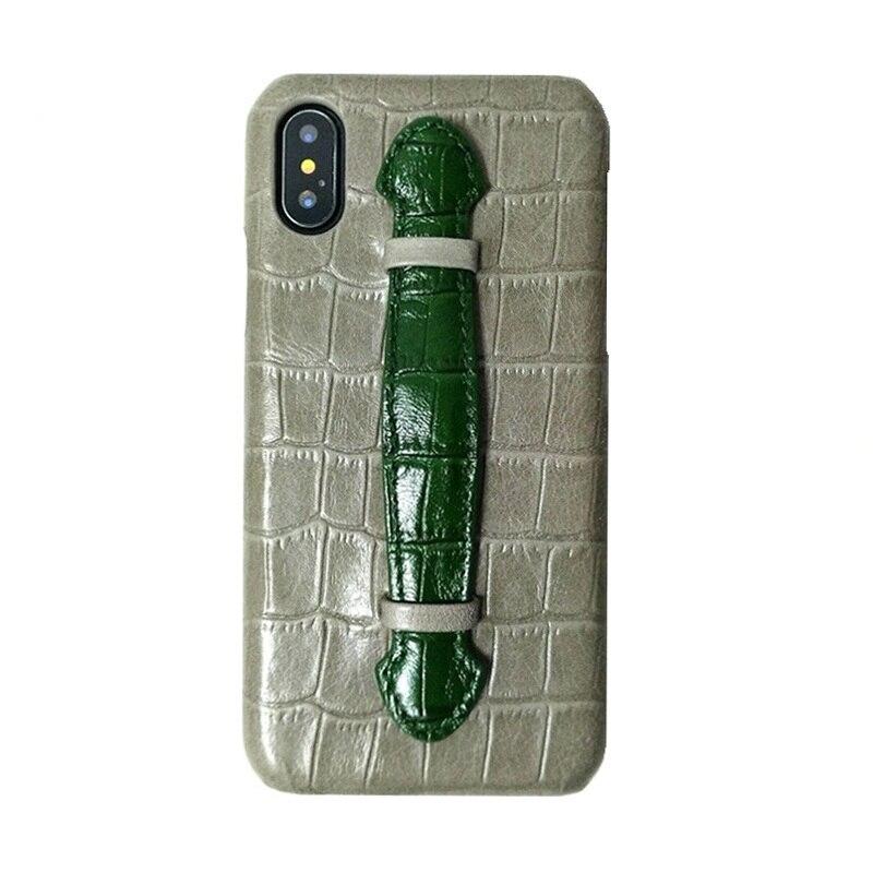 Funda con soporte de correa de mano de cuero genuino de lujo para iPhone X XS 10 fundas de teléfono lindo cocodrilo delgada cubierta dura color mezclado