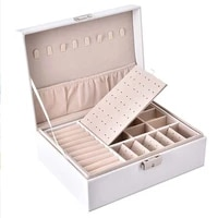 2021 new pu leather jewelry storage box portable double layer packaging box european style multi function winter gift
