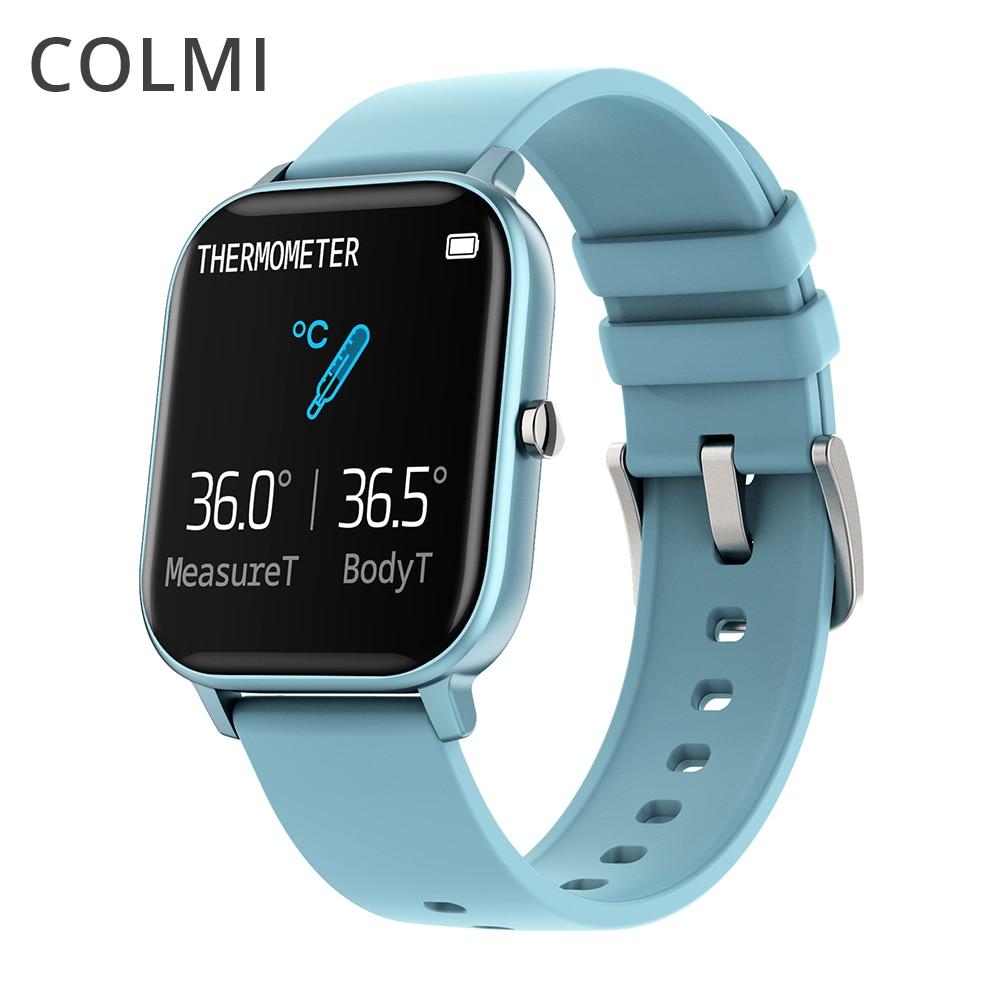 COLMI P8 برو ساعة ذكية درجة الحرارة IP67 مقاوم للماء كامل اللمس جهاز تعقب للياقة البدنية مراقب معدل ضربات القلب النساء الرجال Smartwatch