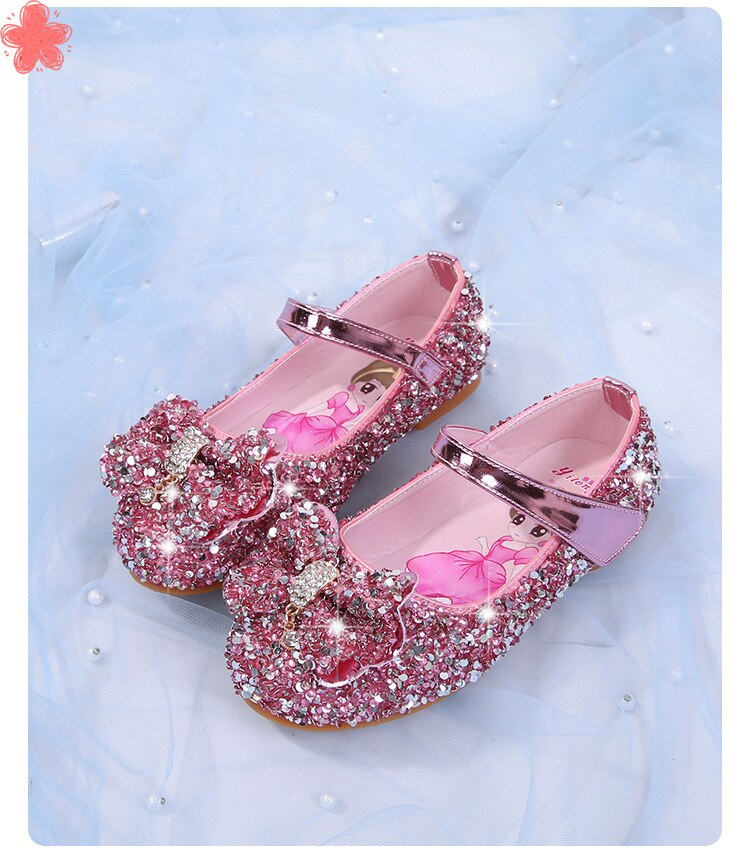 Girls' Single Shoes Princess Shoes Ice and Snow Alsa Crystal Shoes Little Girls' Flat Shoes Children's Soft Shoes enlarge