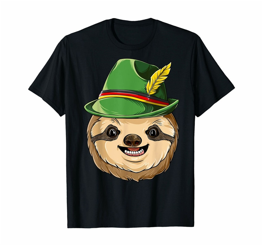 Sloth Oktoberfest T Shirt Kids Boys Men Lederhosen Alpine Casual Print Fashion Tee Shirt