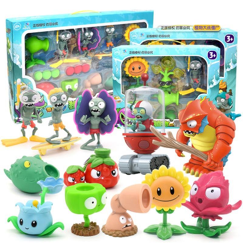Grandes plantas genuinas Vs. Juguetes zombis 2 juego completo de eyección de Niños de silicona suave figura de Anime muñecas para niños regalos de cumpleaños