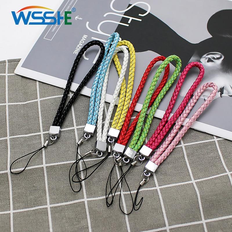 Cordón de teléfono trenzado de 8 colores para llaves USB stick Tarjeta de Identificación correa de teléfono móvil cuerda de armadura Universal antideslizante 20 cm cordones cortos