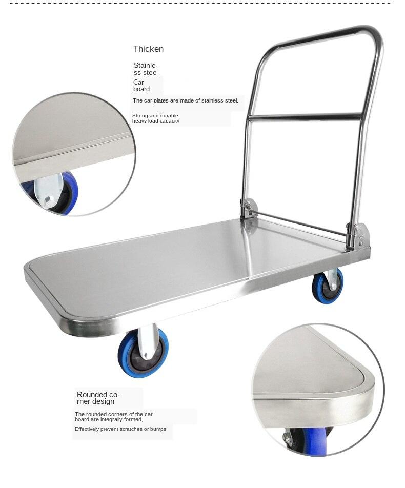 Carretilla plana de acero inoxidable 304, carrito de comedor para hotel, muda...