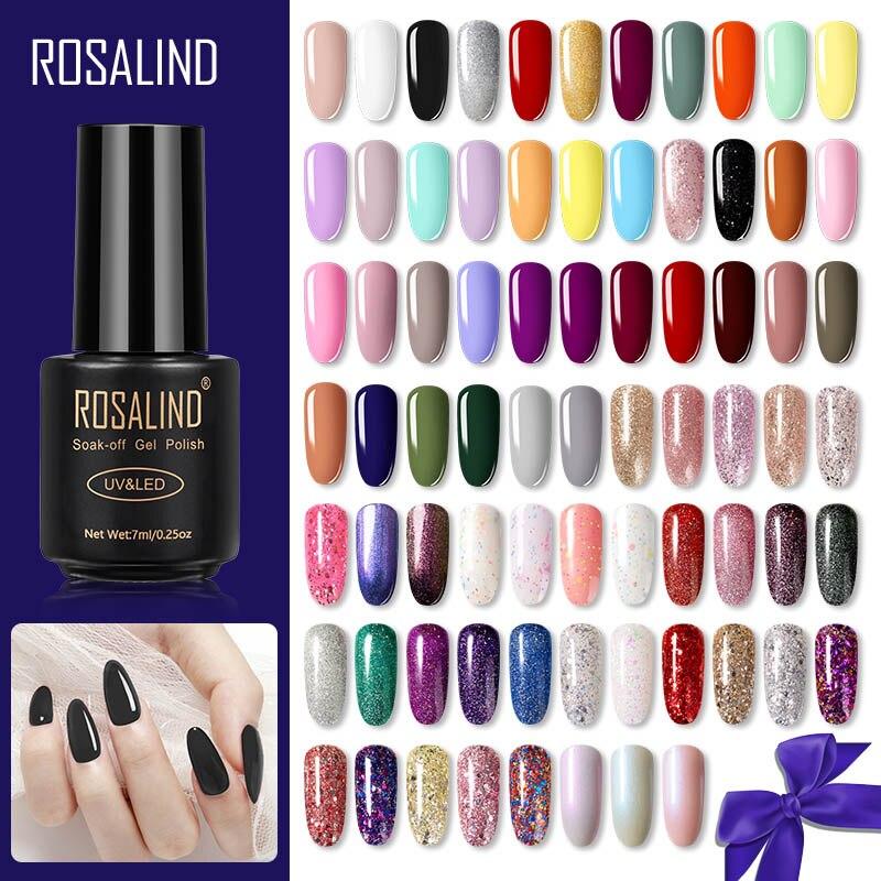 Гель-лак для ногтей ROSALIND, гибридный лак, все для маникюра, цветной блеск, верхнее покрытие, УФ-лак, полуперманентный Гель-лак