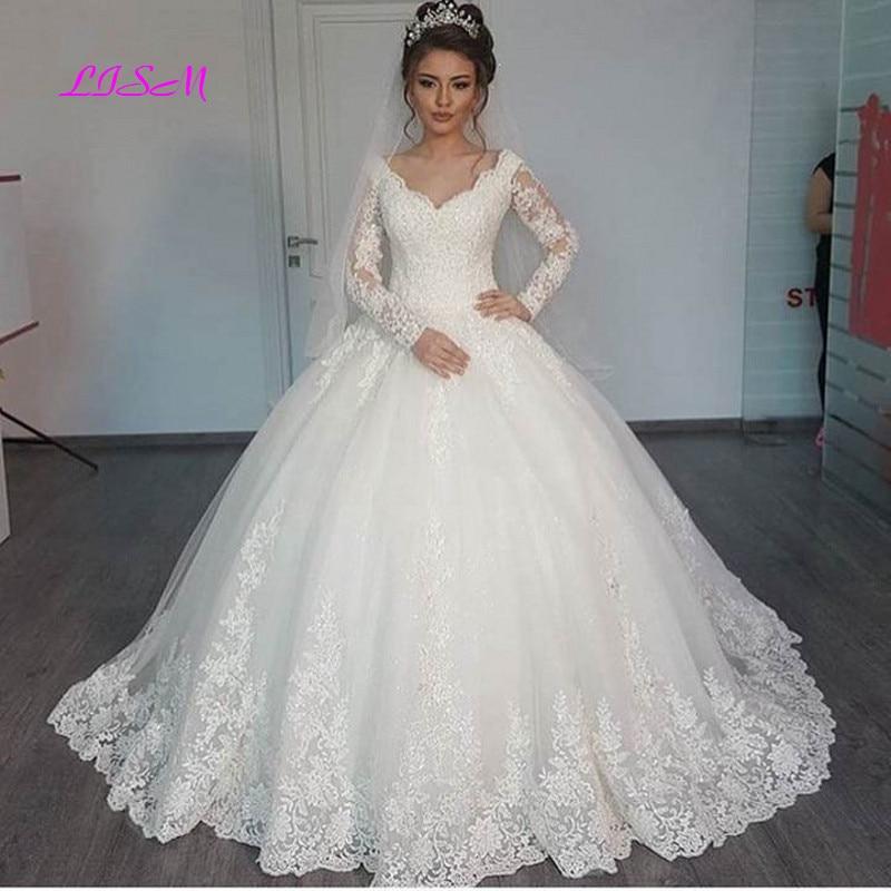 Promo Ball Gown Long Sleeve Vintage Wedding Dress 2021 Elegant Lace Appliques vestido De Noiva Sweep Train Bride Dresses