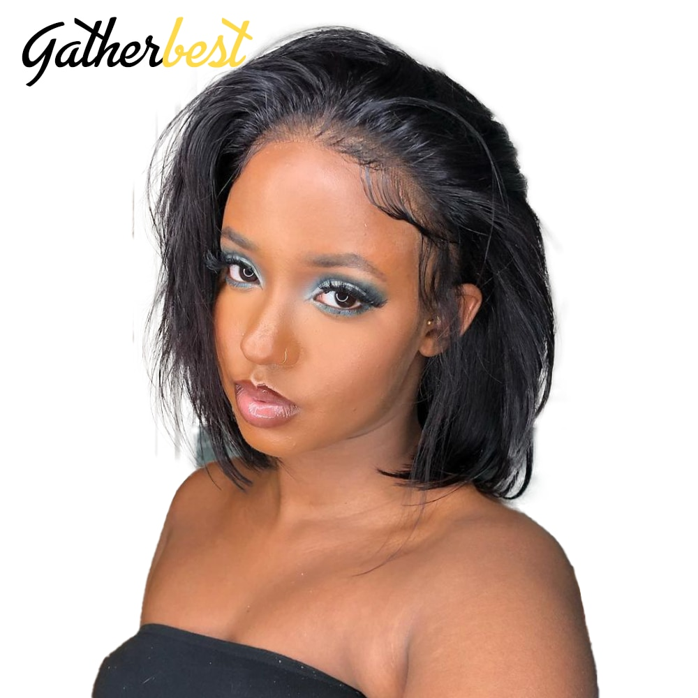4x4 Short Bob Wigs Lace Front Wigs Short Bob Human Hair Short Silky Straight Lace Front Wigs Middle Part Full Wig for Women