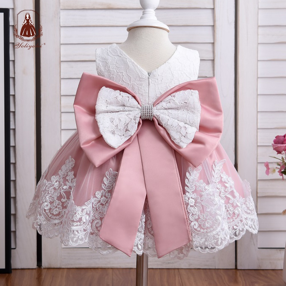 Yoliyolei Baby Girl Dress Infant Girls Princess Dress With Big Bow Sweet Wedding Birthday Baptism Party Newborn Kids Clothing newborn girl infant baby birthday wedding party dress ball gown princess lace up long sleeve front bow kids girl clothes