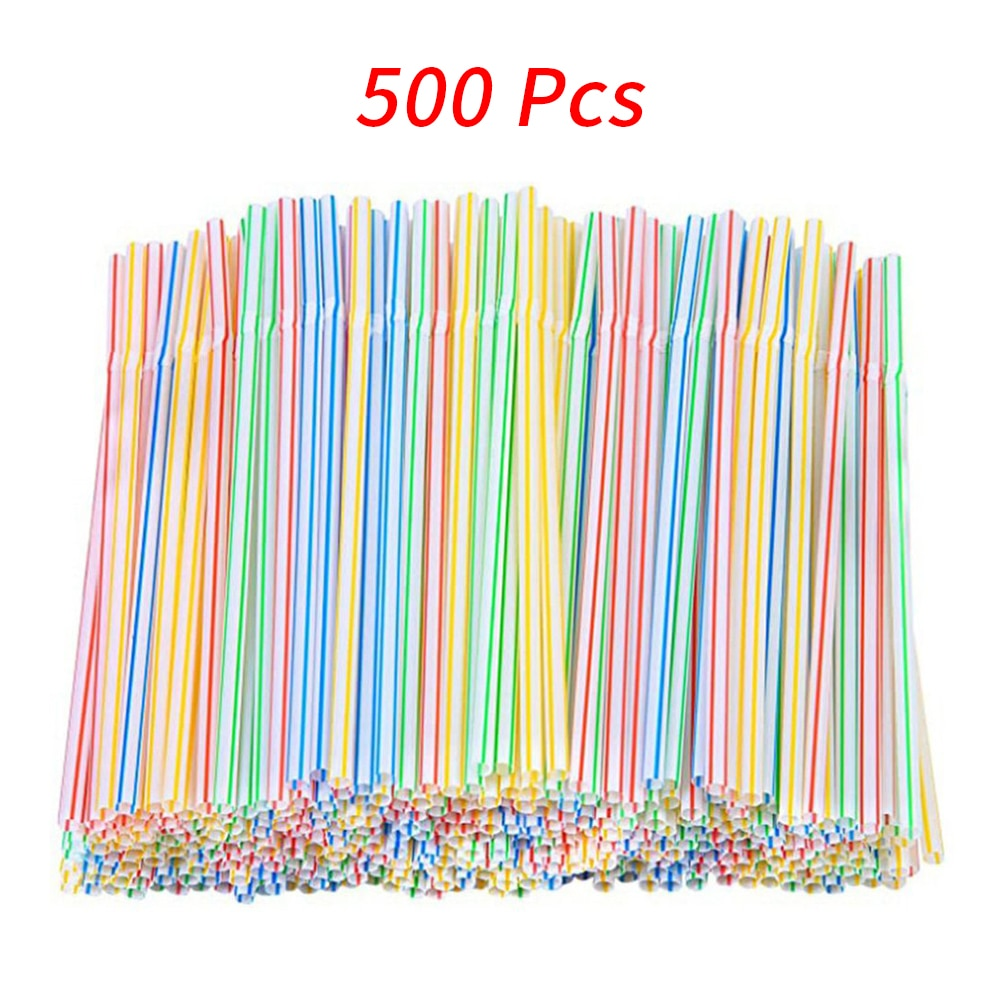 500 Pcs Disposable Plastic Drinking Straws Multi-Colored Striped Bendable Elbow Straws Party Event Alike Supplies Color Random