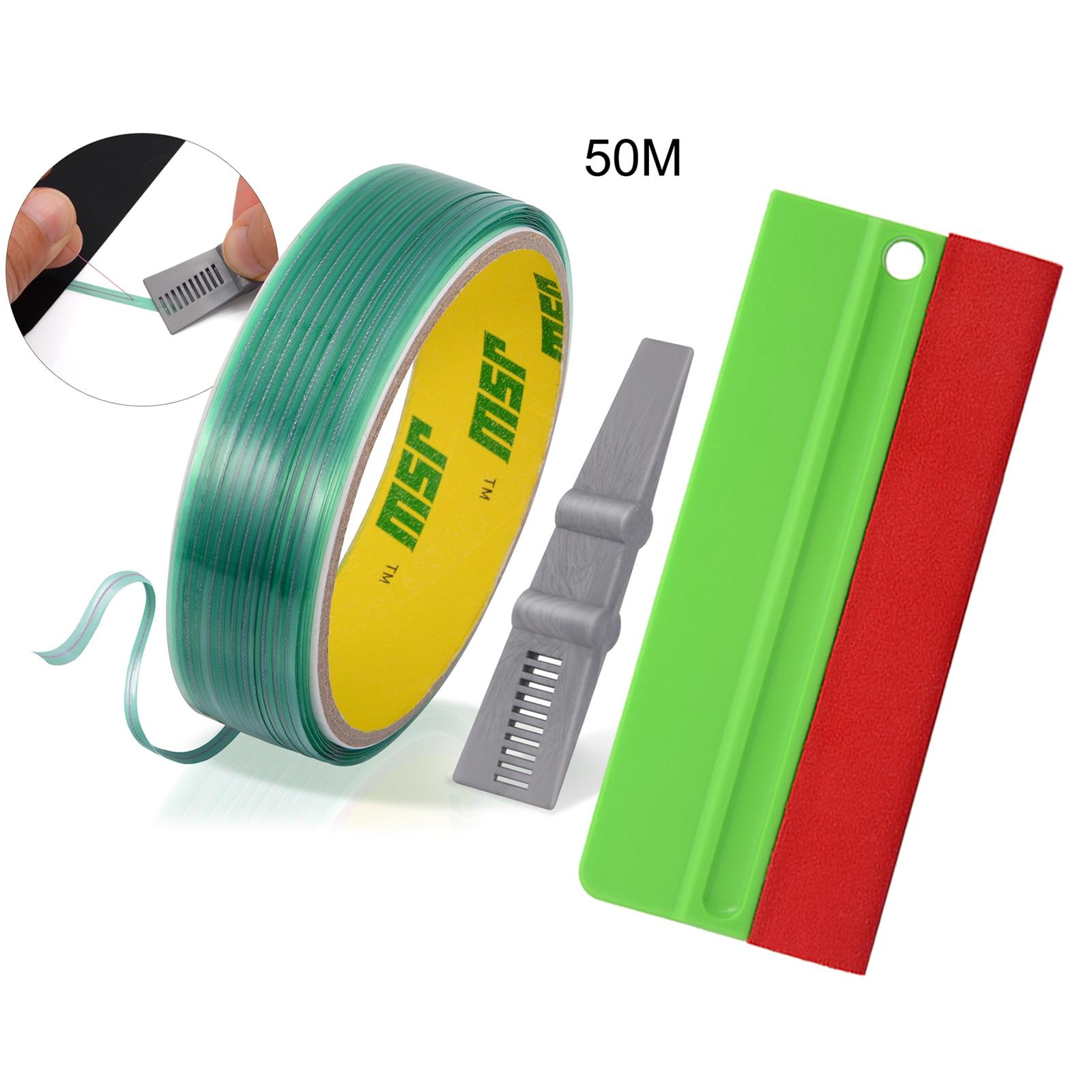 EHDIS Wrapping Vinyl Cutting Tape Car Film Print Scraper Edge Woven Felt Plastic Squeegee Knifeless Design Line Cutter Tool Set