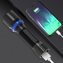 USB rapide charge lampe de poche out/in mettre puissant batterie durée de vie costume pour extérieur enmergency torche intégré ou utiliser 18650 batterie