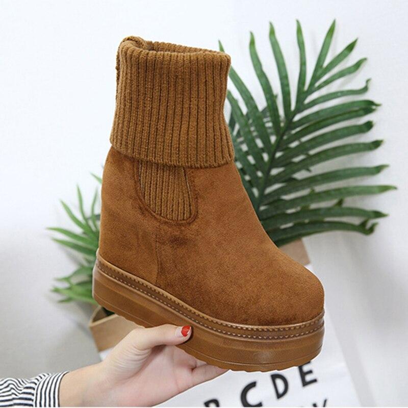 Womens Mid-Calf Boots Winter Knitting Wool Hidden Heel Woman Warm Winter Boots Fashion Platform Thick Sole Shoes Women Boot