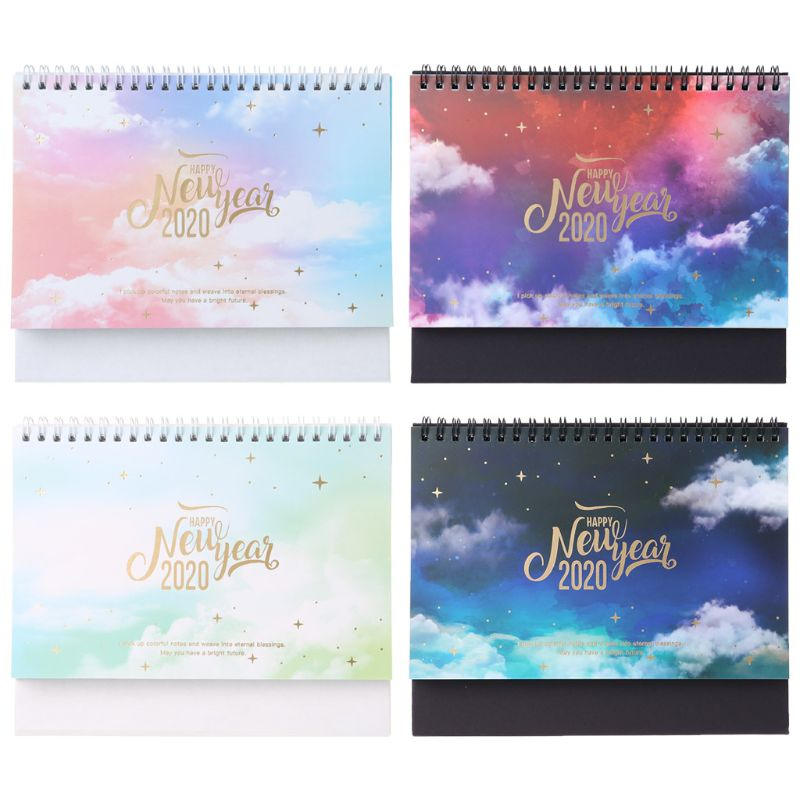2020 Dreamy Colorful Desktop Standing Coil Paper Calendar Memo Daily Schedule Table Planner Yearly Agenda Organizer K3KB