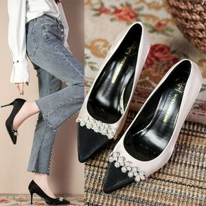 Women's High-heeled Shoes New Fashion Beaded Pointed Heels Women's Single Shoes Professional Dress Sexy Women's Shoes