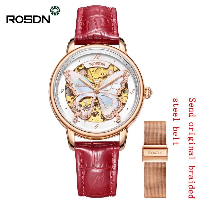 ROSDN new watch female watch fashion hollow automatic mechanical watch belt ladies watch waterproof enlarge