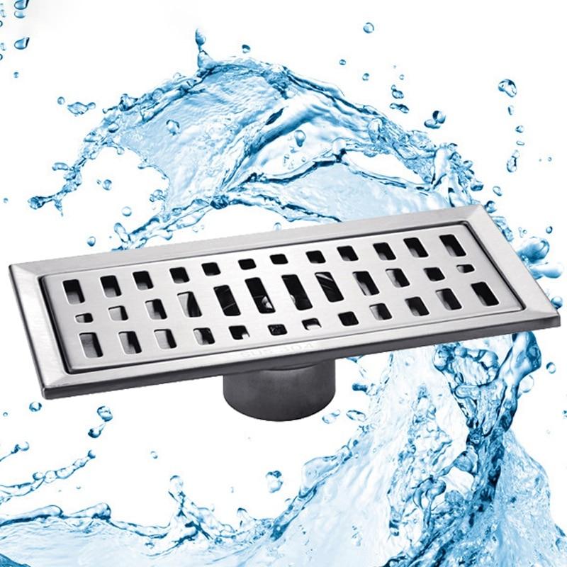 Large-Traffic Stainless Steel Bathroom Shower Square Floor Waste Grate Sanitary 20Cm X10Cm Floor Drain