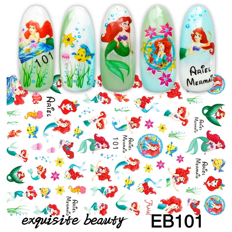 AliExpress - Disney Princess Series Nail Art Stickers Tips Animation Peripherals Mermaid Frozen Aisha Creativity Manicure Foils Decor Decals