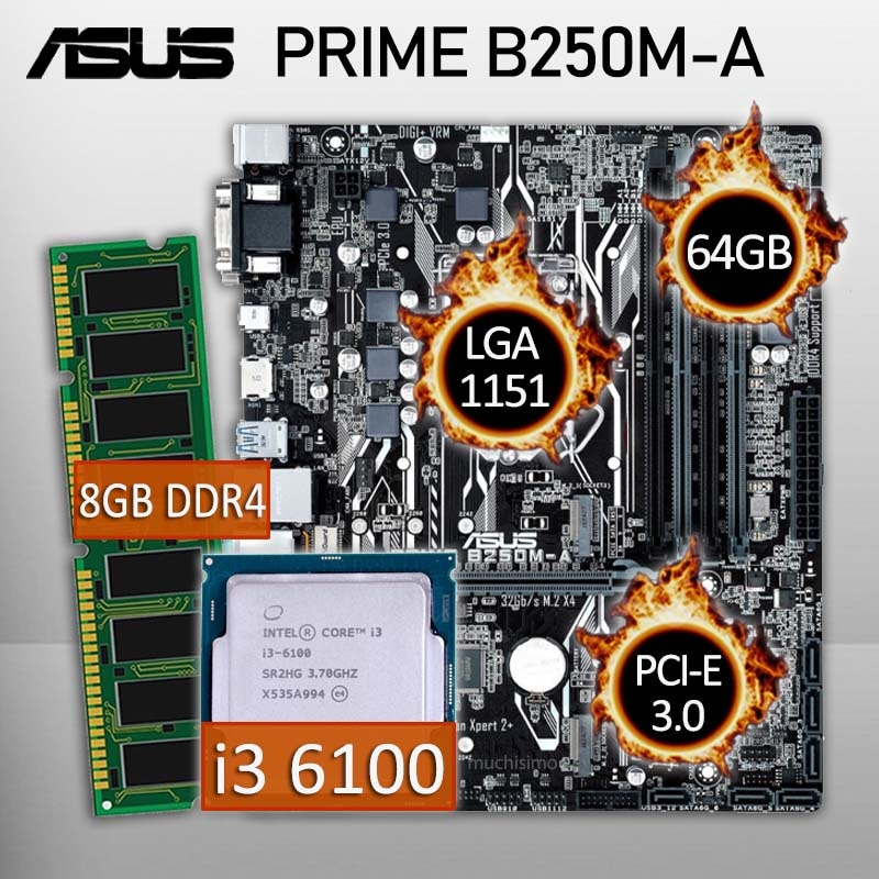 Asus PRIME B250M-A Motherboard With Intel Core i3 6100 and 8GB DDR4 Gaming Motherboard CPU Full Combo Intel B250 Placa-mãe New