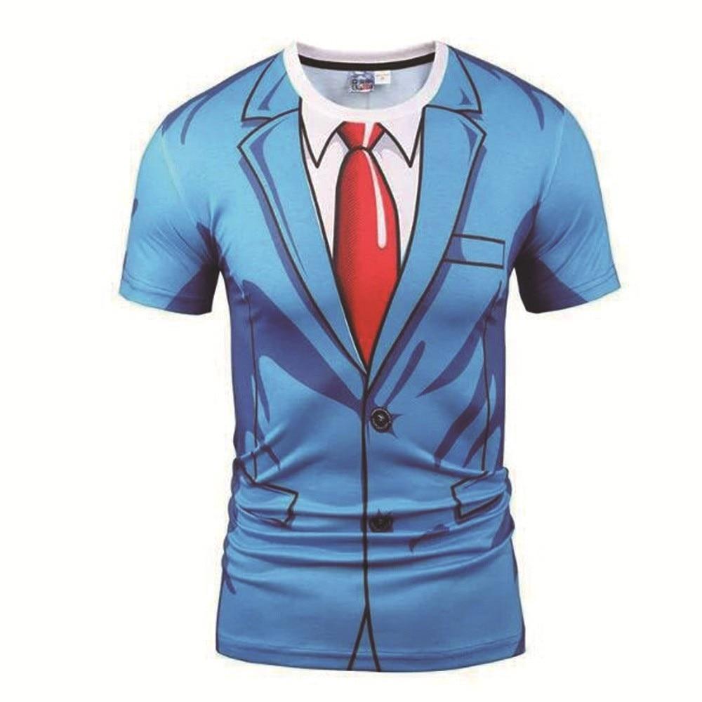 2020 camiseta de gola redonda nova masculina 3d falso gravata de duas peças tshirt