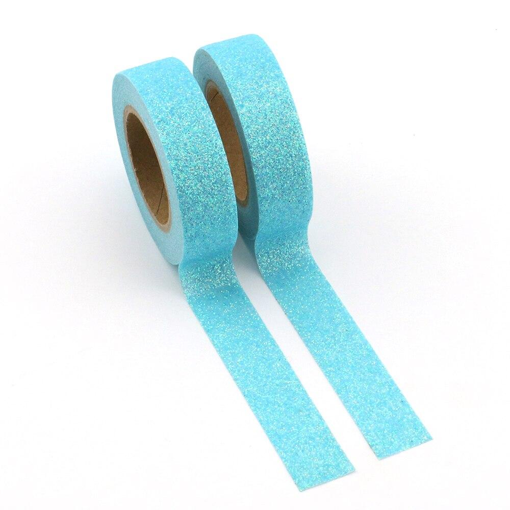 10pcs/Lot Light Blue powder Washi Tape Glitter Japanese Stationery 15mm* 5meter Kawaii Paper Scrapbooking Tools Decorative Tape