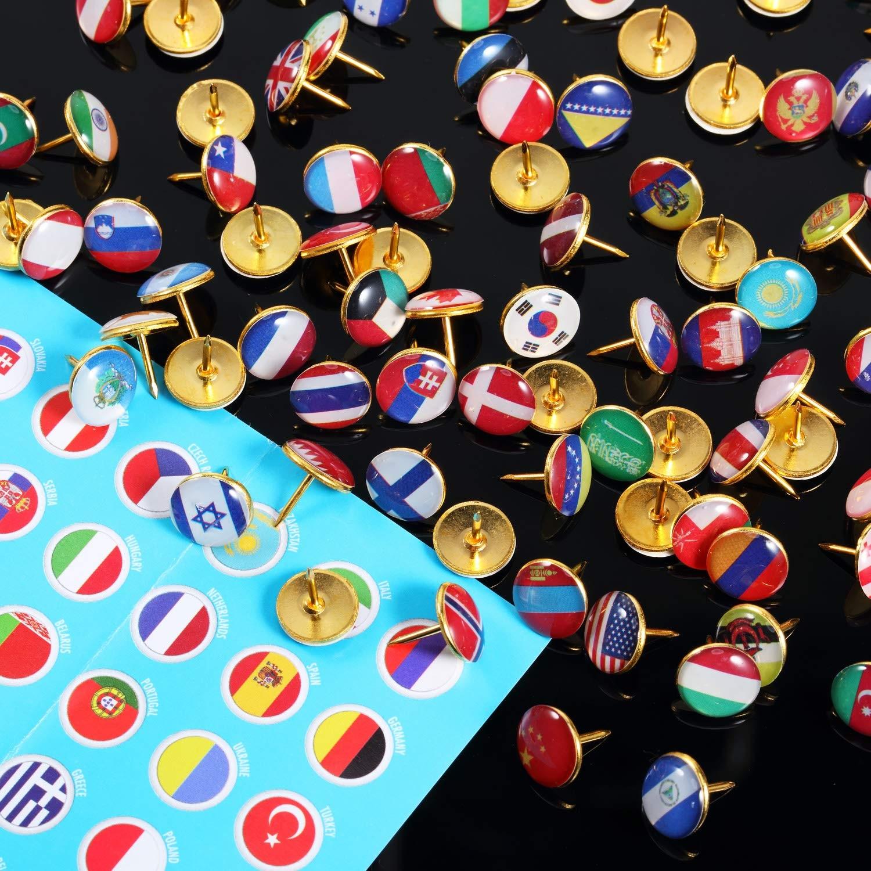 100PCS Push Pins National Flag Thumb Tacks Country Map Push Pins for Bulletin Board, Map, Office (Assorted Countries Pattern)