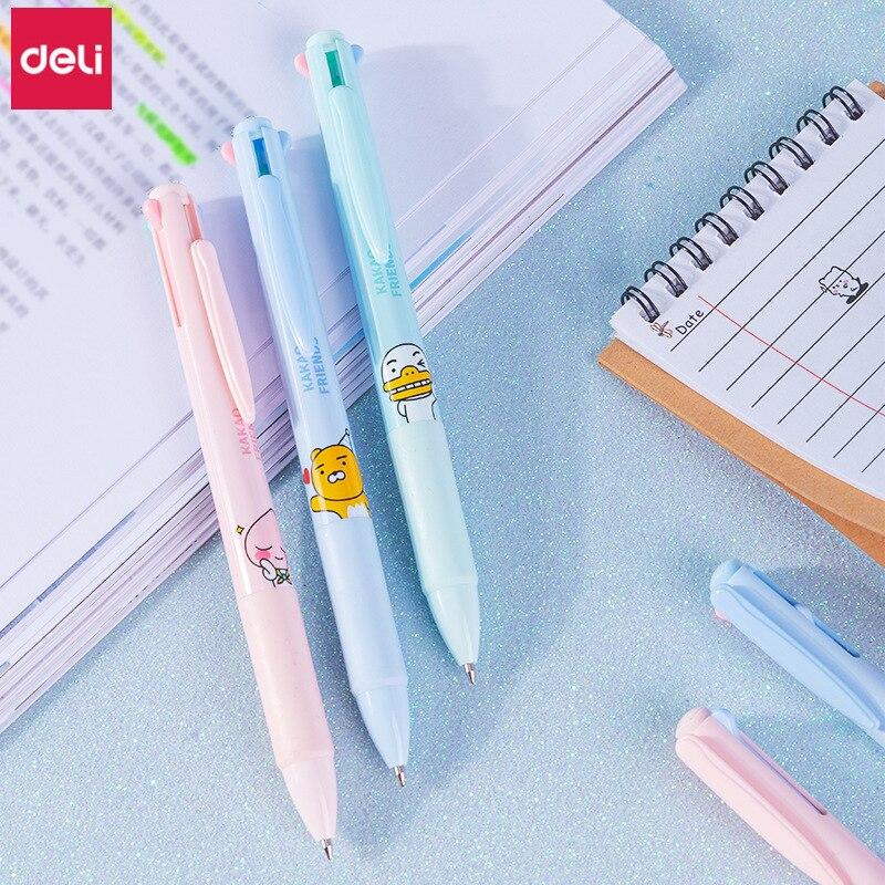 Deli bolígrafo multicolor KAKAO FRIENDS, 4 colores en 1, bolígrafo bonito coreano, premio de papelería para niños, bolígrafo de 0,7mm de regalo