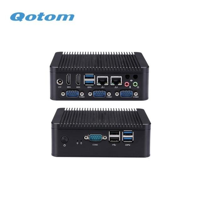 QOTOM IPC Micro PC Fanless Q575P Celeron AES-NI 4 COM GPIO WIFI for home/office/bank Desktop Computer