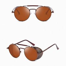 Metal Frame Round Sunglasses Punk Unisex Side Shield Goggles UV400 Men Gothic Polycarbonate Eyeglass