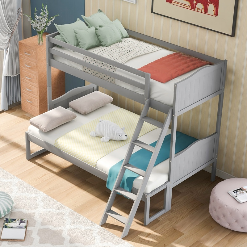 Twin Over Twin/Full Convertible Bunk Bed Bunk Bed With Removable Extra Platform With Ladder