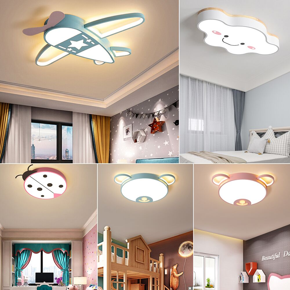 Modern LED Ceiling Light Fixtures with Remote Control Scandinavian Pink Blue Ceiling Lamp for Kids Room Girls Boys Child Bedroom