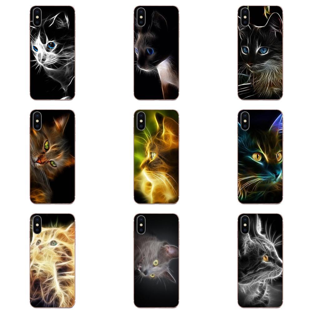 Fantasía Fractal arte gato cartel patrón TPU patrón de teléfono para Apple iPhone 4 4S 5 5C 5S SE SE2 6 6S 7 7 8 11 Plus Pro X XS X Max XR
