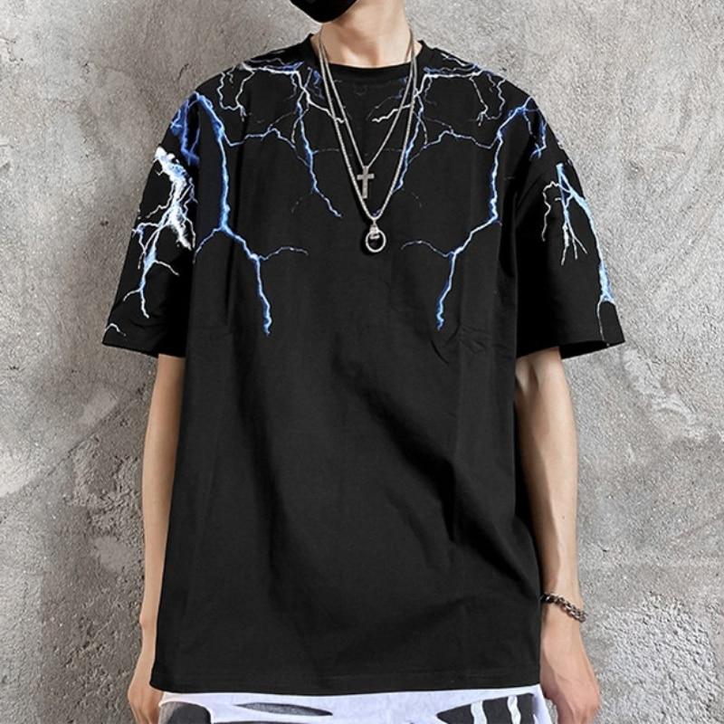 2021 Hip Hop Lightning Print Short Sleeve Men T Shirt Streetwear Hipster Tshirts Designer Harajuku F