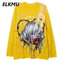 elkmu mens yellow sweatshirt hip hop streetwear graffiti 2021 autumn oversized pullover harajuku tops male hm571