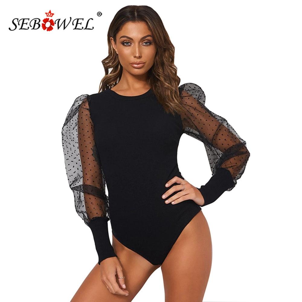 SEBOWEL Casual Long Sleeve O-Neck Mesh Gauze Puff Sleeve Bodysuit for Woman Spring Female Polka Dot Sleeve Knit Body Top Clothes