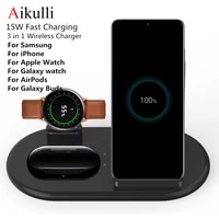 Aikulli caricabatterie Wireless Qi supporto di ricarica per Samsung Galaxy Buds S8 S9 S10 S20 Plus nota 9 10 per Iphone 11 X XS XR Watch 6 5 4