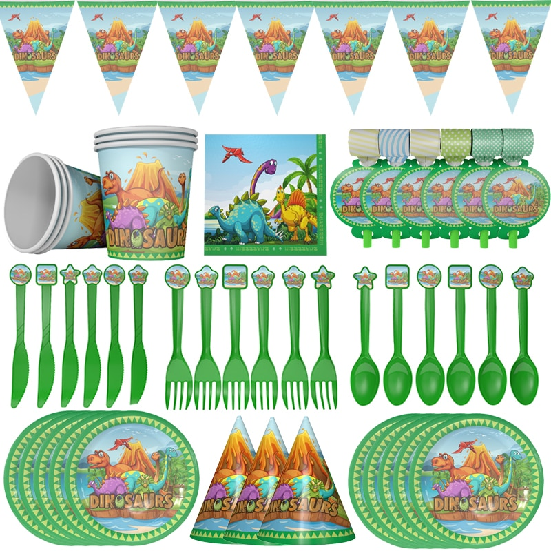 Dinosaur Theme Party Disposable Tableware Set Paper Plates Cups Napkin Birthday Party Decor Cartoon Jurassic World Jungle Party
