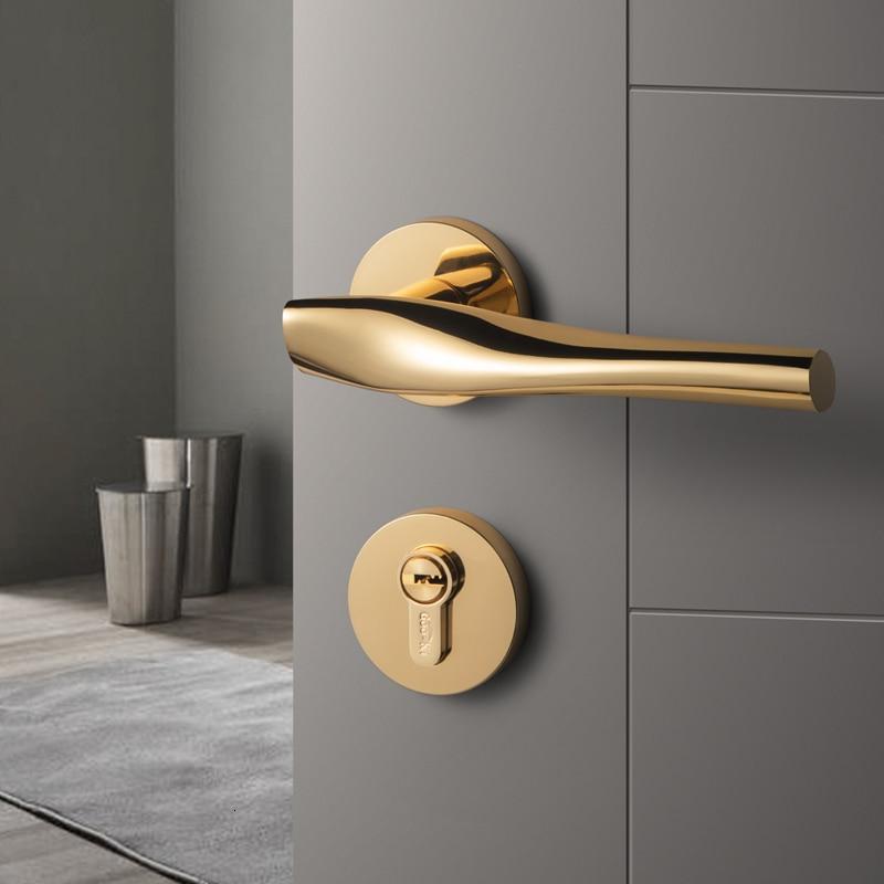 الحديث الفاخرة/الذهب غرفة نوم مقبض الباب قفل الأمن دخول سبليت الصامت قفل الأساسية باب الأثاث داخلي مقبض الباب Lockset