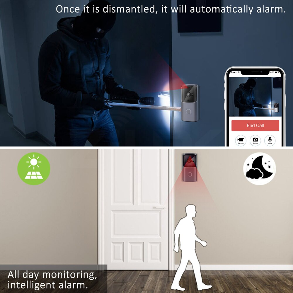 Smart Home Doorbell WIFI Wireless Video Intercom Door Bell Camera Monitor Battery Powered Remote Control iOS Android enlarge