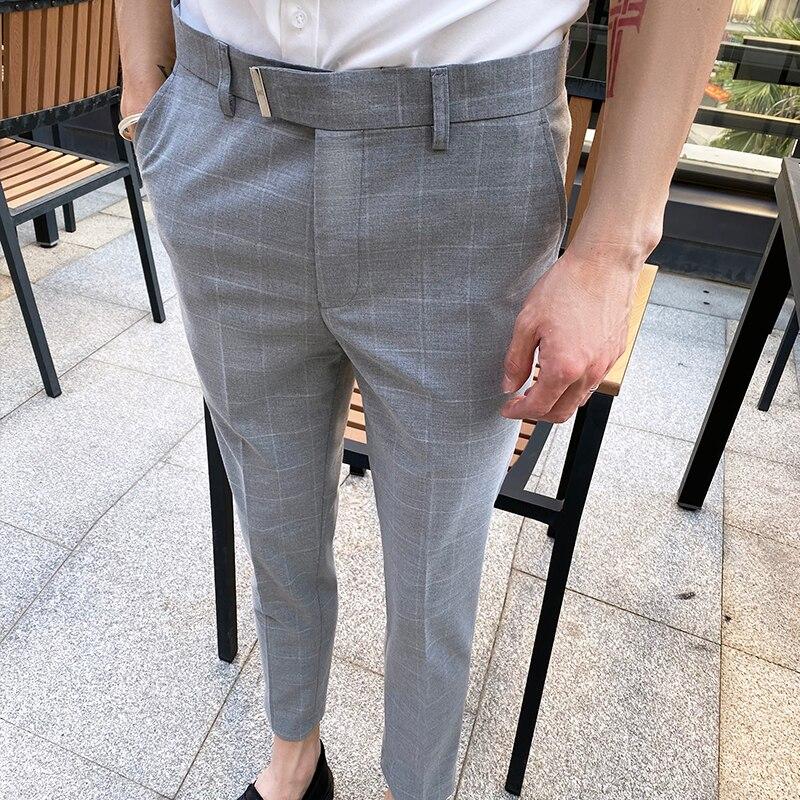 بدلة بنطلون رجالي مستقيم نمط هونج كونج تسع نقاط بنطلون ، بنطلون صغير ، بناطيل كاجوال ، النسخة الكورية من Slim