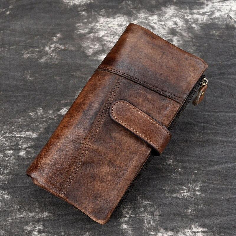 Luufan خمر حقيقية محفظة جلدية طويلة الرجال النساء تتفاعل حجب حامل بطاقة الائتمان محفظة سستة الأعمال محفظة الهاتف المحمول
