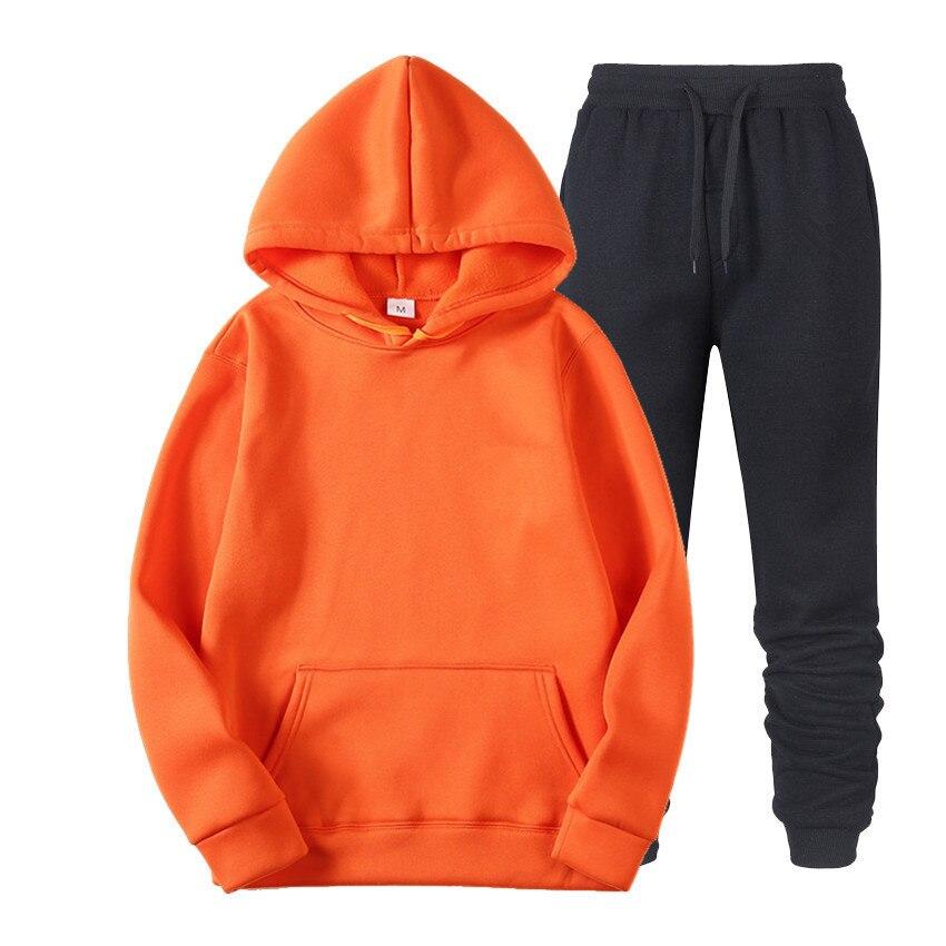 Sets Brand Solid Color Casual Hoodies+Fitness Pants Men Women Autumn Winter Warm Sweatpants Tracksuit  Joggers Sportswear Suit