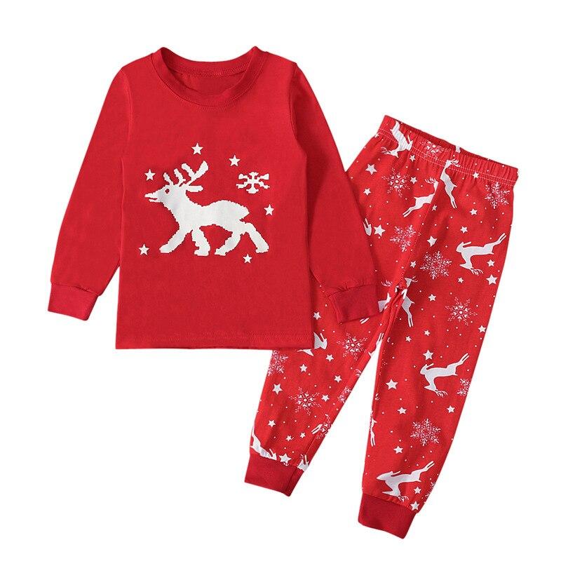 2020 новый осенне зимний красный топ с рисунком рождественского оленя с длинными рукавами + штаны, комплекты из 2 предметов, хлопковая одежда для девочек, Повседневные детские костюмы|Комплекты пижам| | АлиЭкспресс