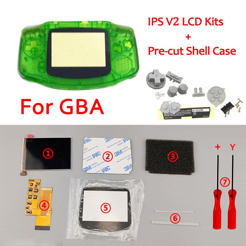 IPS V2 LCD ekran setleri önceden kesilmiş kabuk durumda GBA arkadan aydınlatmalı LCD V2 ekran 10 seviyeleri yüksek parlaklık GBA konsol konut