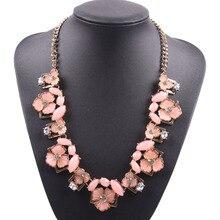 Nouveau mode bijoux longue chaîne en or bavoir bulle cristal fleur feuille pendentif collier pour dames Florate marque bijoux