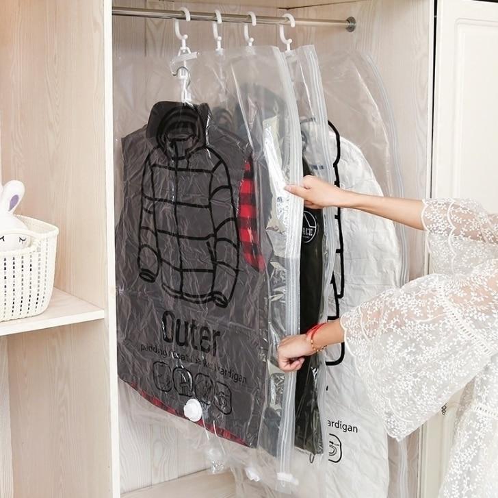 Bolsa de compresión para colgar ropa, bolsa de almacenamiento, bolsa de vacío de bombeo de chaqueta gruesa grande transparente para ropa clasificación