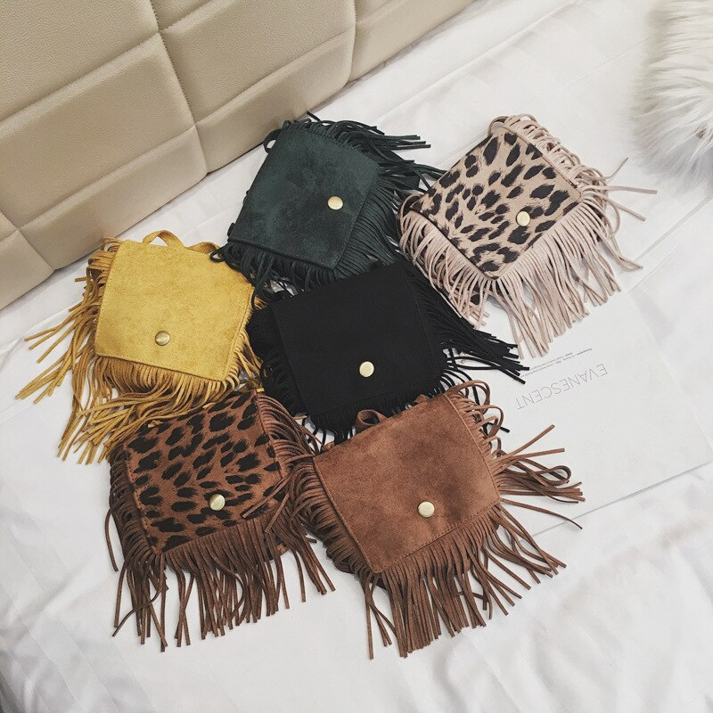 Lovely Children Tassel Shoulder Bags Vintage Leopard Girls Small Coin Purse Cute Baby Accessories Crossbody Bags for Kids Gifts girls coin purse children one shoulder bags coin pouch bags kids pu fashion small bags new bag purse kids